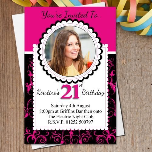 10 Personalised Black & Pink Birthday Party PHOTO Invitations N187
